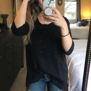 A.N.A Black Sequined Top